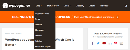 The WPBeginner menu showing the categories drop-down