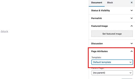 Selecting a page template