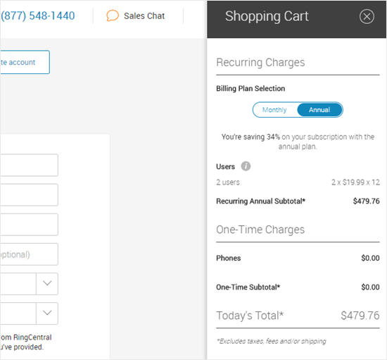 The Ringcentral discount has been applied to the shopping cart