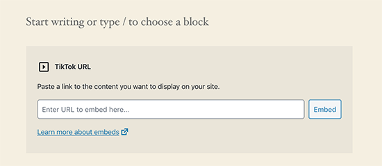 TikTok embed block in WordPress 5.4