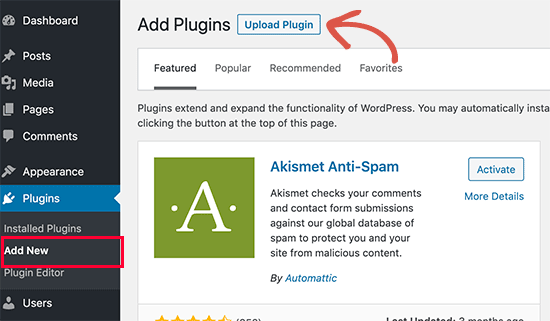 Upload plugin button