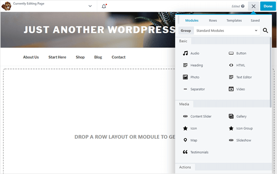 The Beaver Builder drag and drop interface