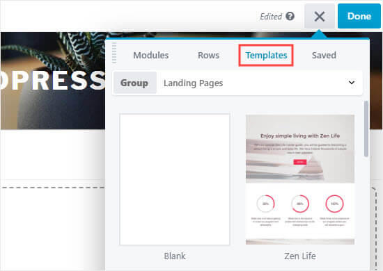 Select one of the Beaver Builder templates