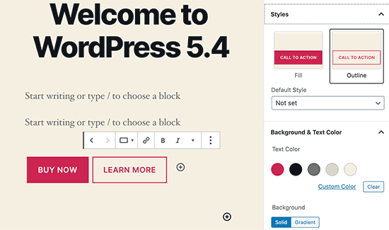 Buttons in WordPress 5.4