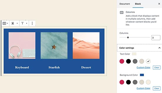 Column colors in WordPress 5.4