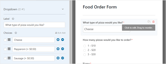 Editing a form field in WPForms