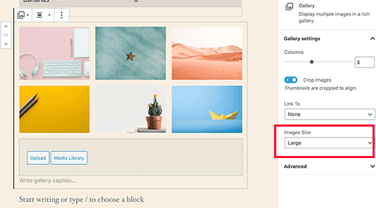 Gallery image sizes