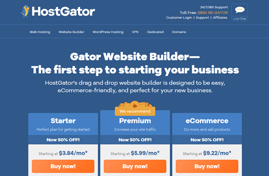 The Gator website builder's homepage