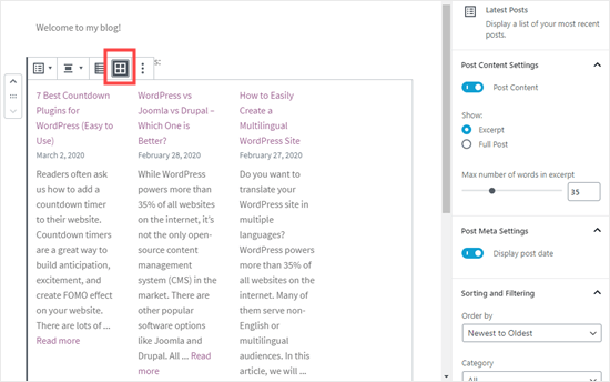 Setting the latest posts to display in a grid format