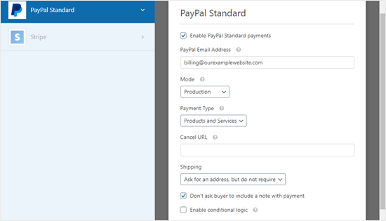 The PayPal payment settings page for your form