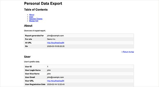 Personal data export file