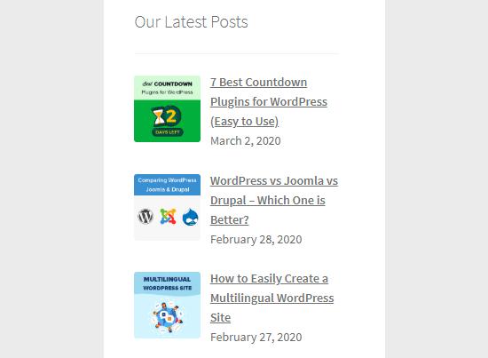 Display Recent Posts in Sidebar