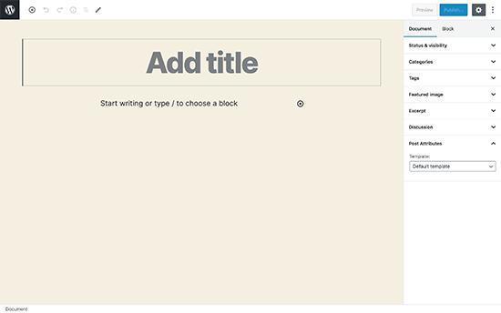 WordPress fullscreen editor