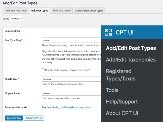 Editing post types with CPT UI plugin