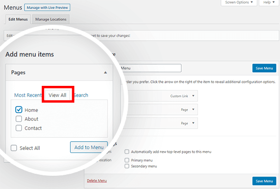 add homepage to WordPress navigation menu