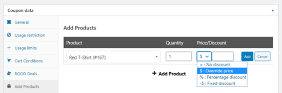 Making your product free using the 'Price/Discount' dropdown