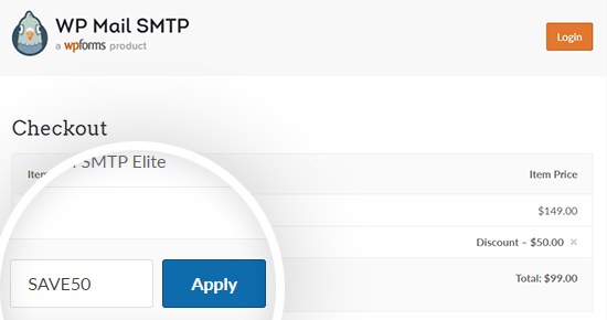 Apply the WP Mail SMTP coupon