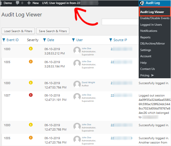 Activity log viewer