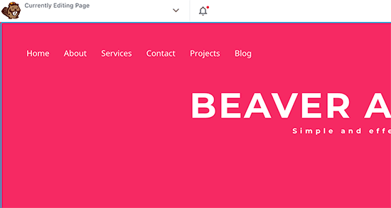 Preview of a custom navigation menu added with Beaver Builder