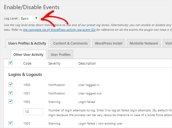 Track events in WP Activity Log
