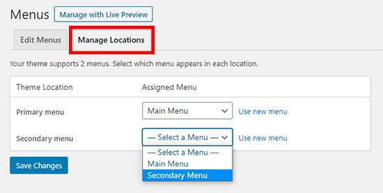 manage menu locations in WordPress