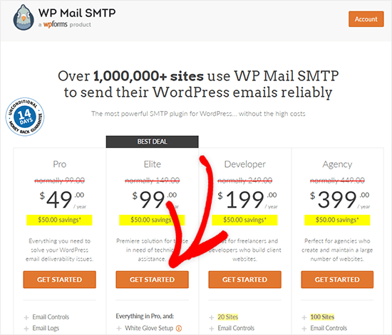 WP Mail SMTP Pricing page with coupon code applied
