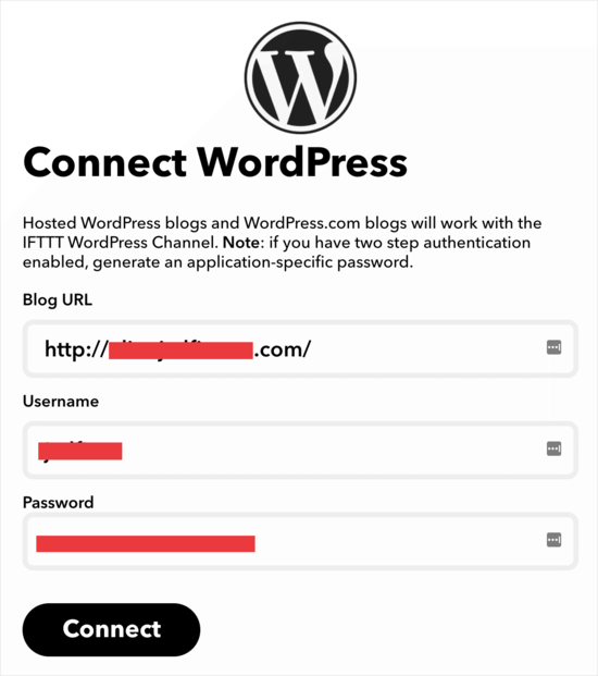 IFTTT connect to WordPress