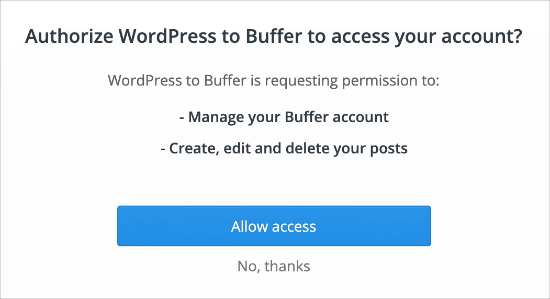 Authorize Facebook to Buffer connection
