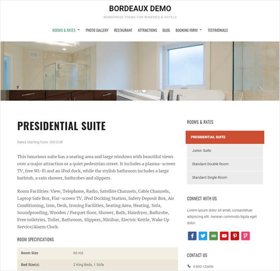 Bordeaux theme, showing room details