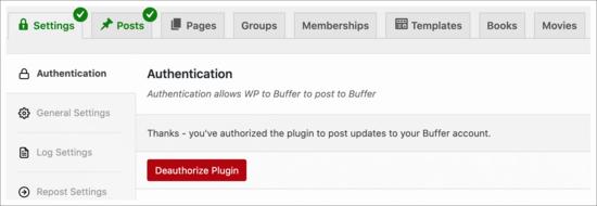 Buffer settings
