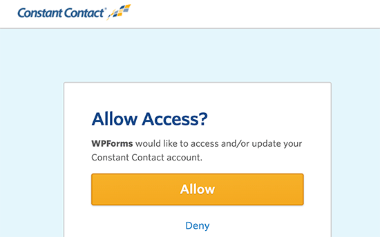 Allow WPForms to connect with Constant Contact
