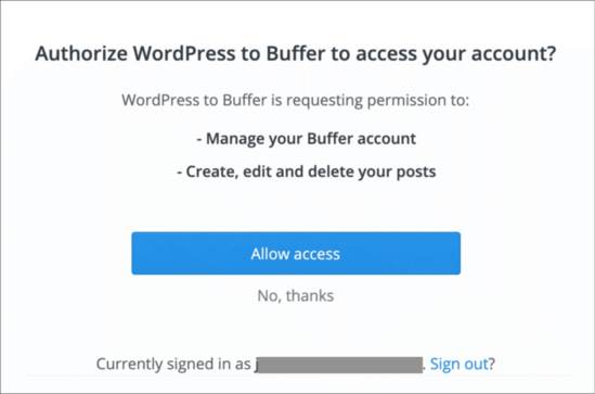 Connect Buffer account
