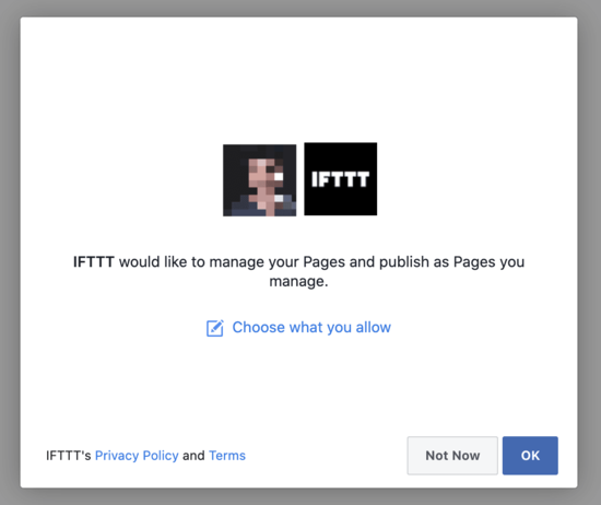 Connect FB account to IFTTT