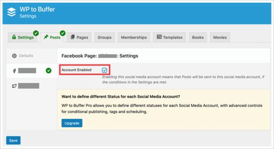 Enable Buffer social accounts