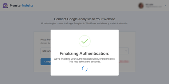 اتصال MonsterInsights به Google Analytics - روند احراز هویت