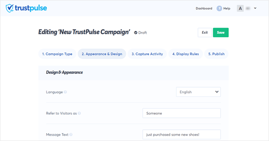 Changing the default text of the TrustPulse message