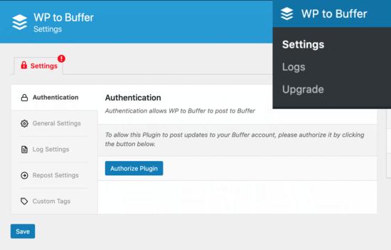 WP to Buffer app settings
