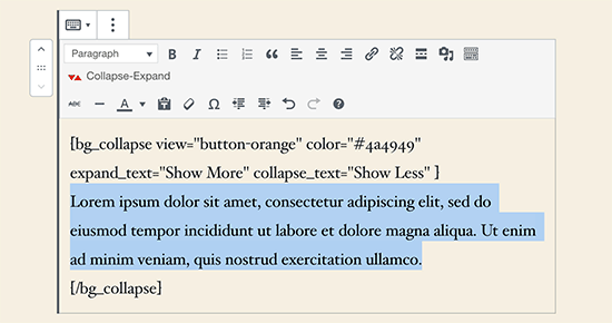Adding text to hide