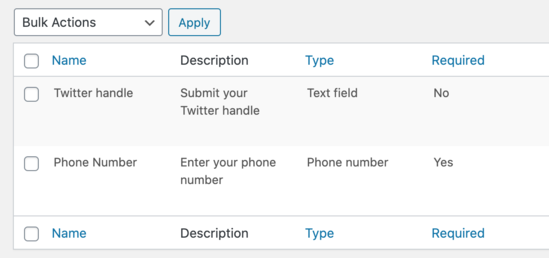 See all custom profile fields