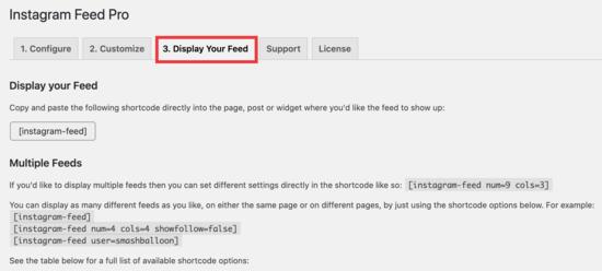 Display your feed tab