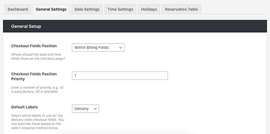 Delivery slots settings
