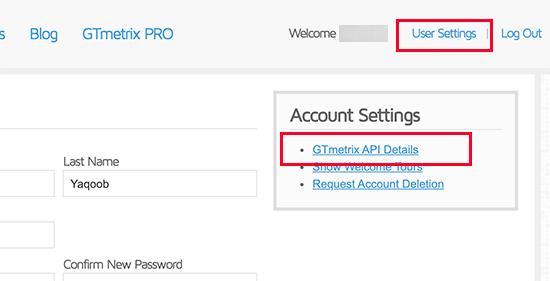 GTmetrix account settings