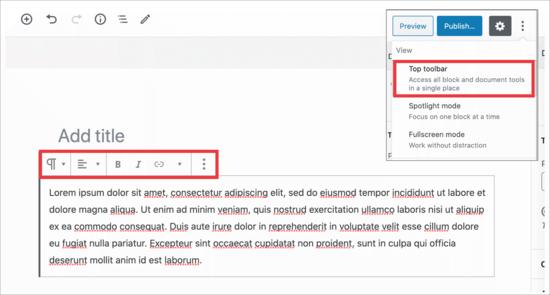 Original block toolbar