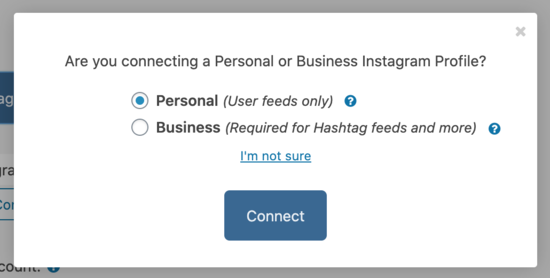 Personal account prompt
