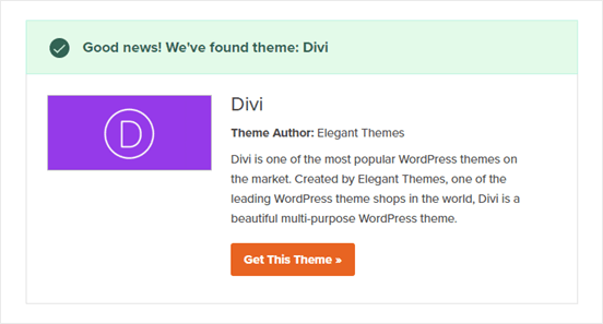 The WordPress Theme Detector in action, detecting the Divi theme
