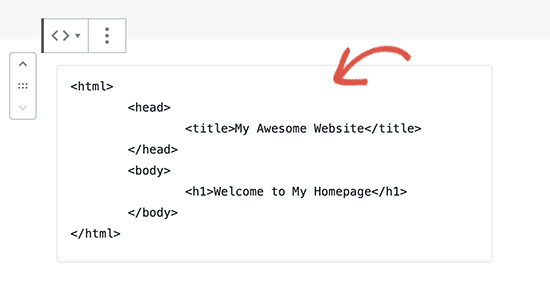 Adding code in WordPress code block