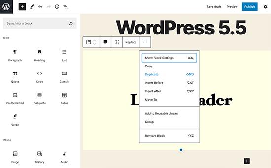 Block Editor UI changes in WordPress 5.5