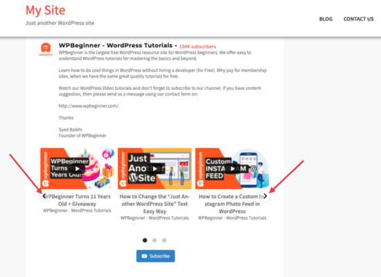 Carousel Feed on your site