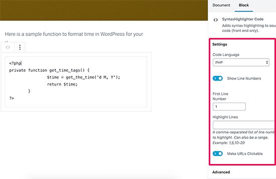 SyntaxHighlighter block settings