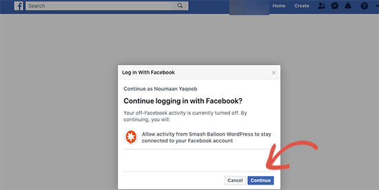 Login to Facebook and continue